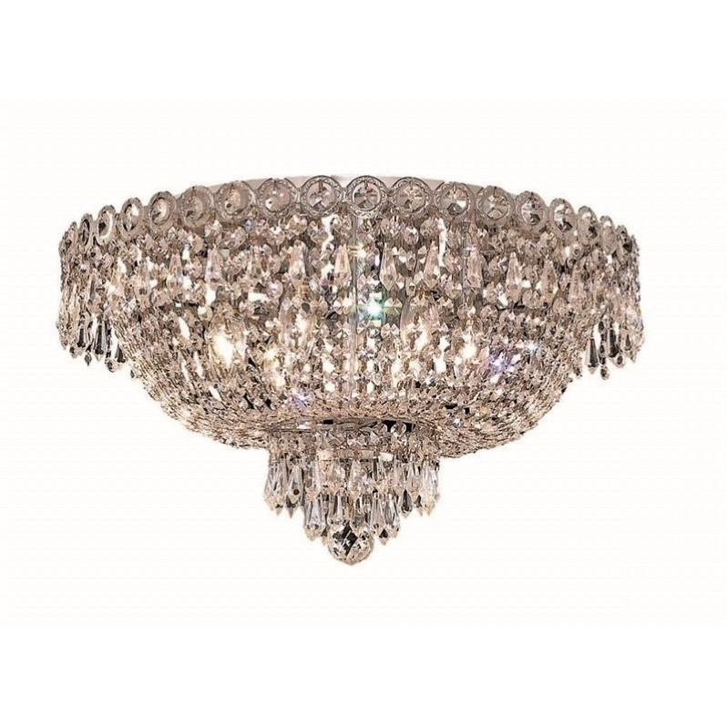 "Elegant Lighting Century 18"" 6 Light Elegant Crystal Flush Mount"