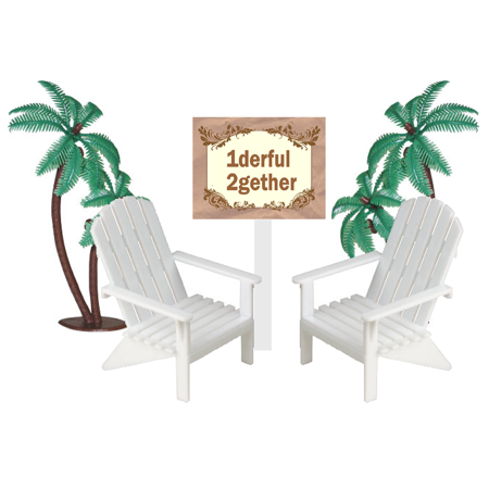 1derful 2gether Sign with Mini Beach Adirondack Plastic Chairs Cake Decoration Toppers with Palm Trees ()