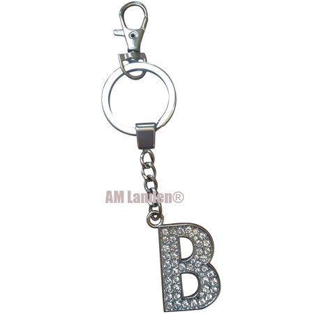 Rhinestone Bling Crystal Alphabet Letter Key-chains Keychains Handbags Charms (Letter B)