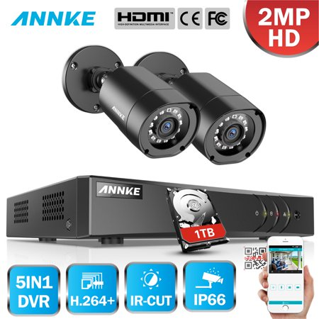ANNKE 4CH 1080P Outdoor CCTV Video Home Security 2PCS Bullet Weatherproof Camera System Surveillance Kits With 1TB Hard Drive Disk (1/3 B/w Weatherproof Bullet Camera)