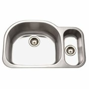 Houzer MG-3209SR-1 Medallion Designer Series Undermount Stainless Steel 70/30 Double Bowl Kitchen Sink, Small Bowl Right