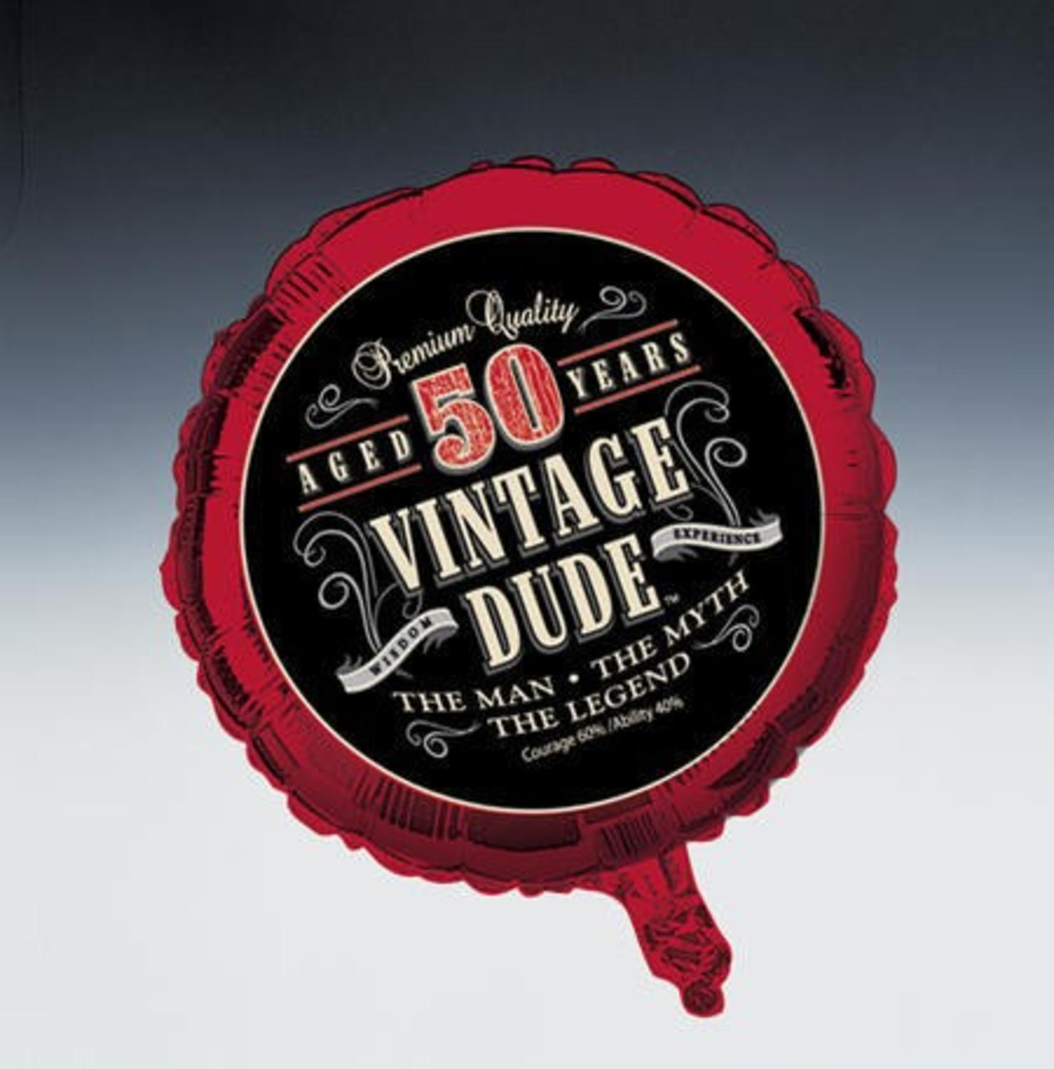 "Pack of 10 50th ""Vintage Dude"" Metallic Balloons 18"""