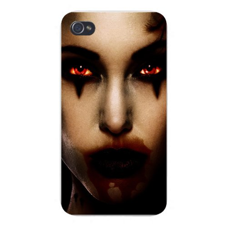 Bloody Face (Apple Iphone Custom Case 4 4s White Plastic Snap on - Girl Face w/ Black Eyeliner & Bloody Lips Staring Scary)