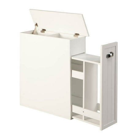 OakRidge Slim Bathroom Storage Cabinet with Slide-Out Shelf & Hinged Lid, 7-In. Wide,