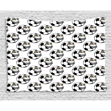 Soccer Tapestry, Cartoon Football Mascot with Happy Funny Face Expression Sports Game Play, Wall Hanging for Bedroom Living Room Dorm Decor, 60W X 40L Inches, Black White Yellow, by Ambesonne (Face Paint For Football Games)