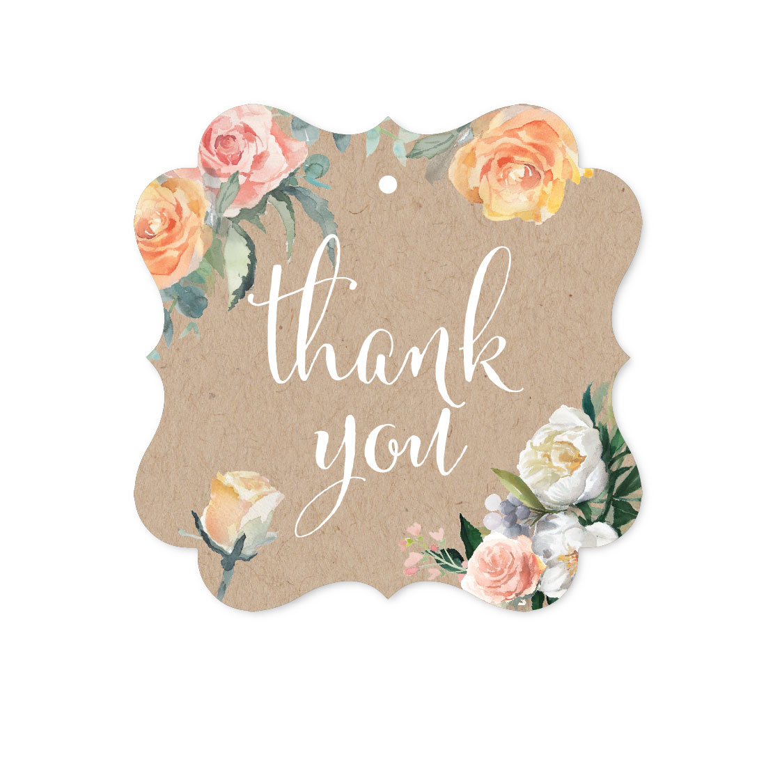 Peach Coral Kraft Brown Rustic Floral Garden Party Wedding, Fancy Frame Gift Tags, Thank You, 24-Pack