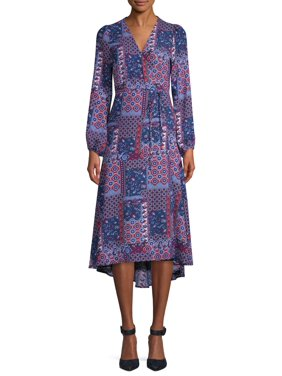 Scoop Blouson Sleeve High Low Maxi Dress Boho Print Women's