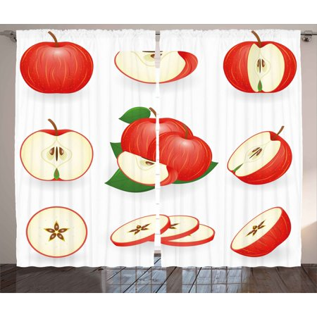 - Sweet Decor Curtains 2 Panels Set, Yummy Chopped Apple Slices Juicy Fresh Fruits Delicious Nature Illustration, Window Drapes for Living Room Bedroom, 108W X 84L Inches, Cream Scarlet, by Ambesonne