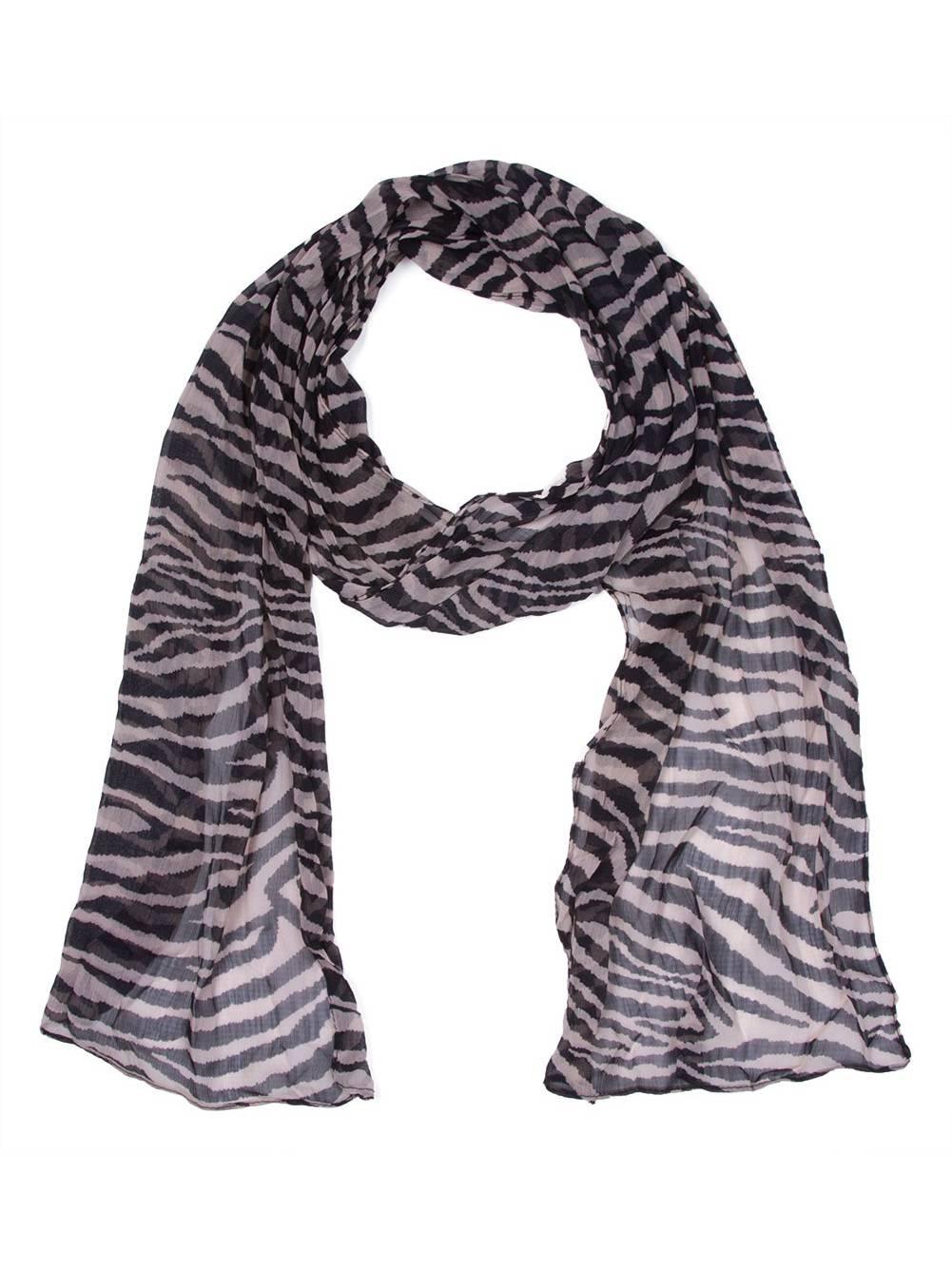 Lava Chiffon Zebra Long Scarf Ivory