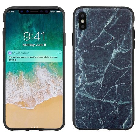 premium selection 0061f d1ff8 For Apple iPhone Xs Max Case, OneToughShield ® Slim-Fit TPU (Black Bezel)  Protective Phone Case Cover - Marble / Blue