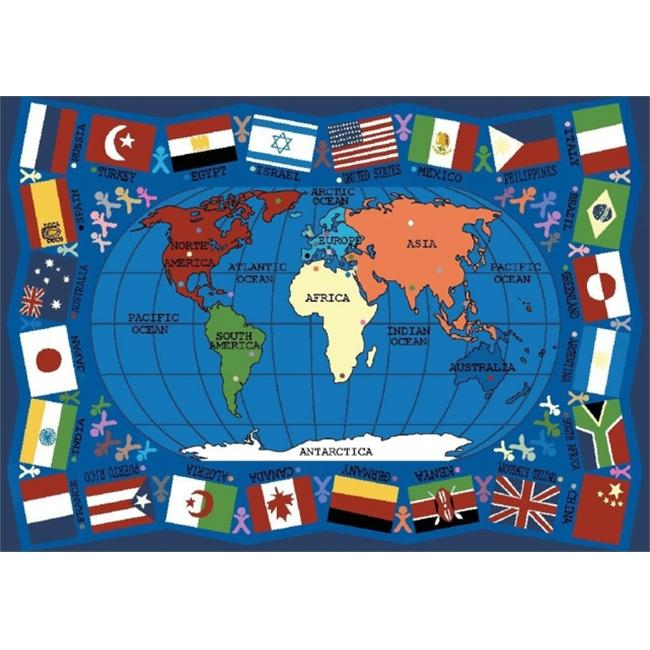 Joy Carpets 1444C Flags of the World 5 ft. 4 inch x 7 ft. 8 inch 100 Pct.  STAINMASTER Nylon Machine Tufted- Cut Pile