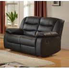 Zoey Black Bonded Leather Living Room Reclining Loveseat