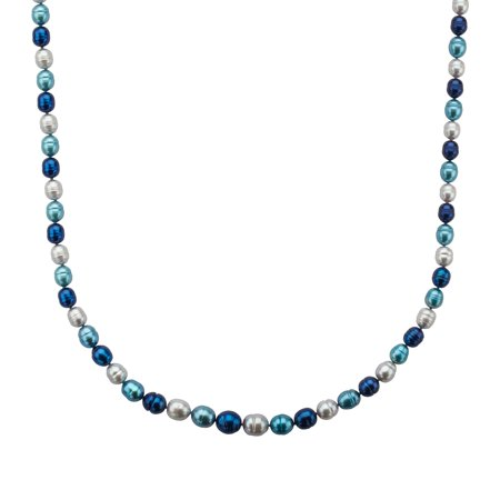 (5-9 mm Blue Multi-Color Freshwater Pearl Necklace in Sterling Silver)