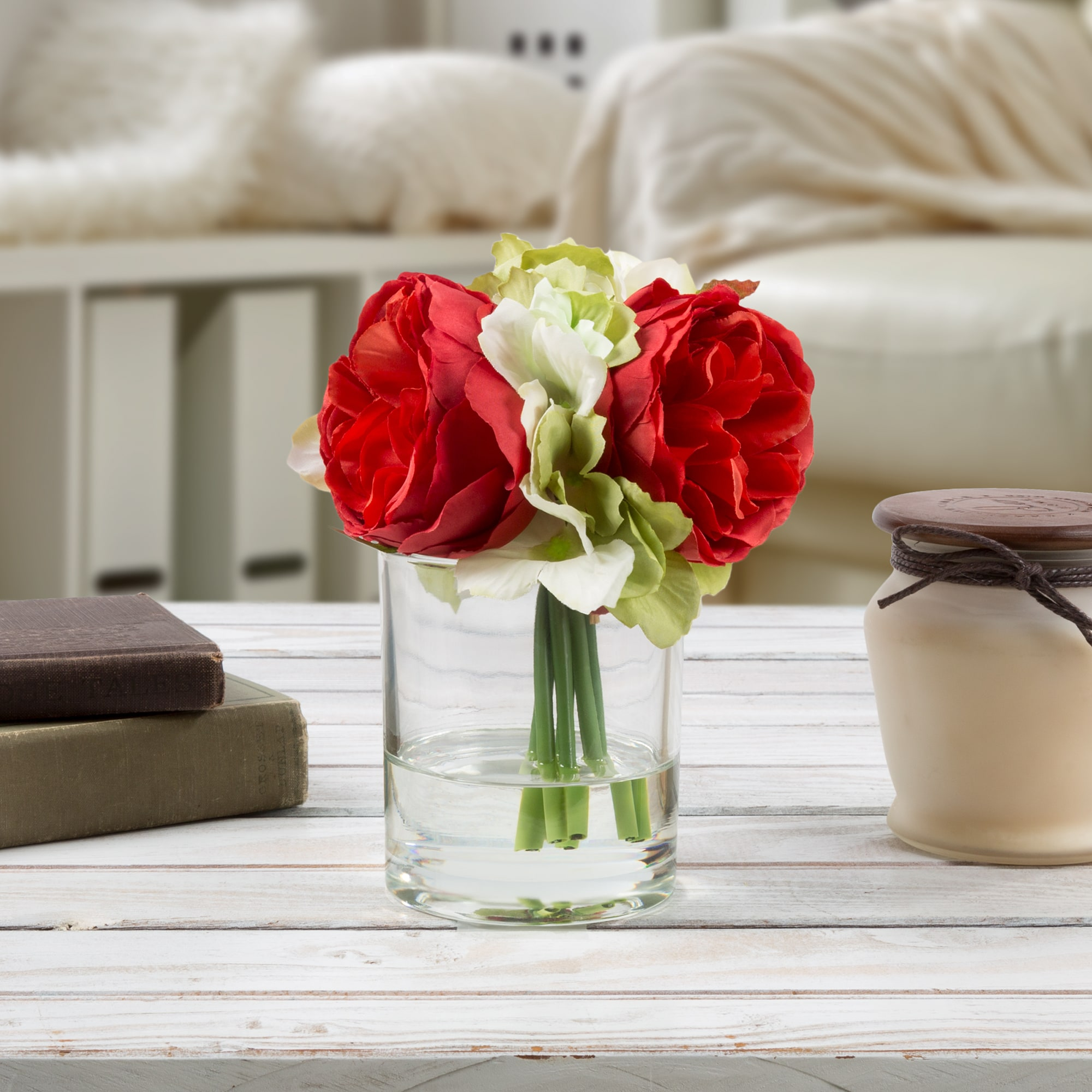Pure Garden Hydrangea and Rose Artificial Silk Floral Arrangement with Vase and Faux Water-  (Red)