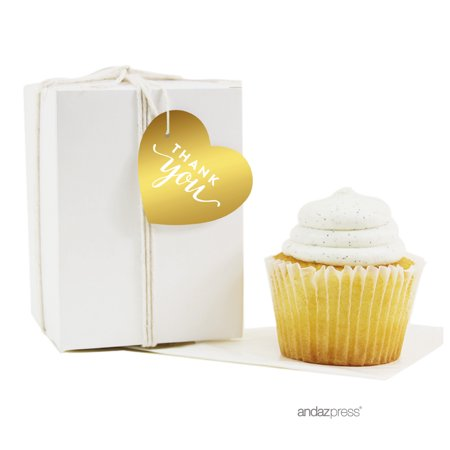 Thank You Gold Metallic Gold Heart Favor Gift Tags, 30-Pack