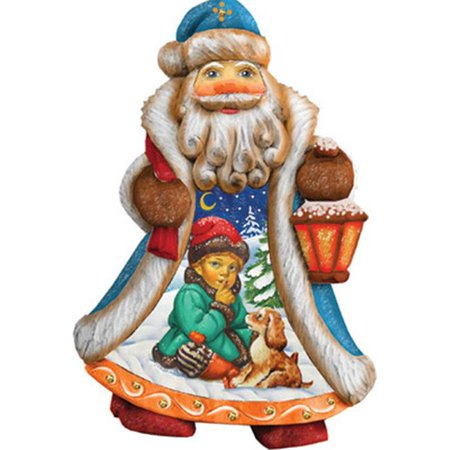GDeBrekht 661423 5 in. Santa Boy With Dog Ornament Figurine With Scenic Painting