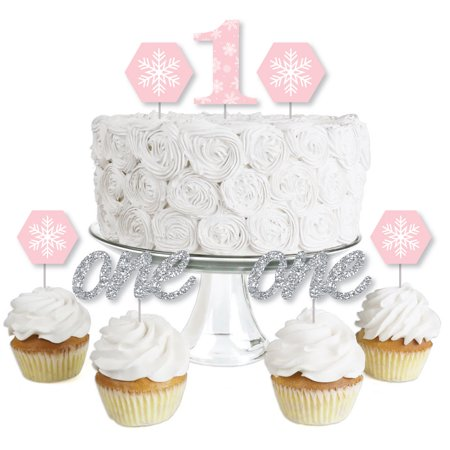 Pink Winter Wonderland- Dessert Cupcake Toppers -Holiday Snowflake Birthday Party or Baby Shower Clear Treat Picks-24 Ct - Winter Wonderland 1st Birthday Ideas