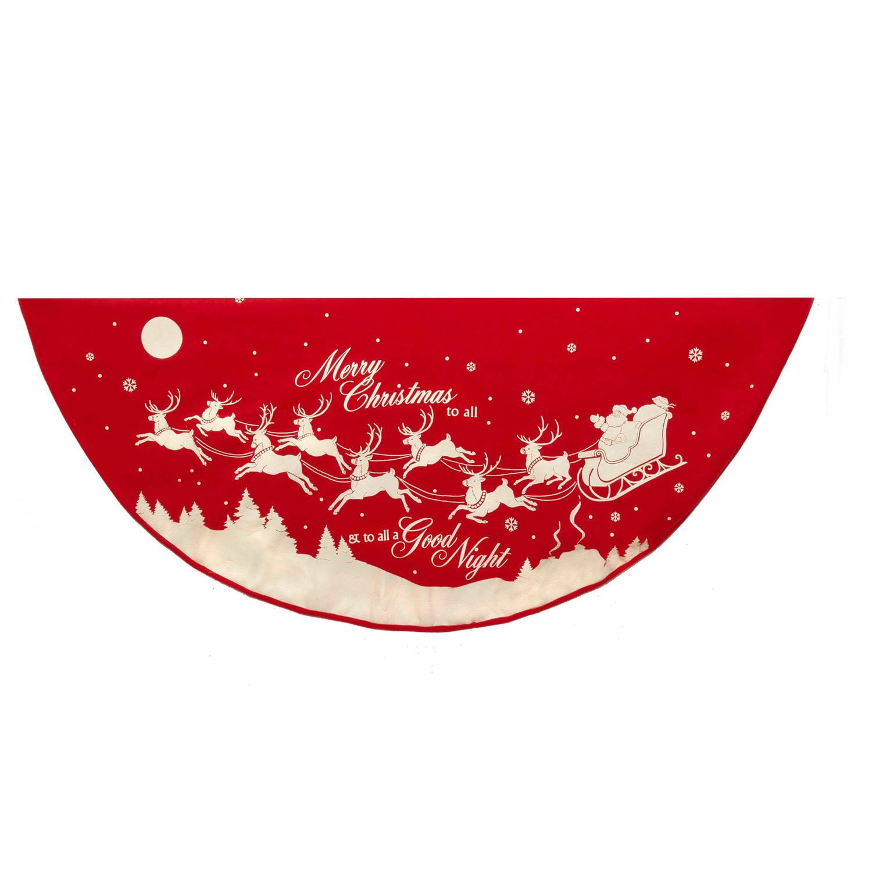 Kurt Adler 48 in. Reindeer and Santa Printed Tree Skirt
