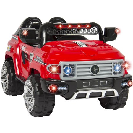 Best Choice Products 12V Kids Battery Powered RC Remote Control Truck SUV Ride-On Car w/ 2 Speeds, LED Lights, MP3, AUX Cord - - Fire Truck For Kids To Ride