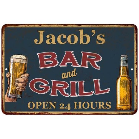 UPC 786359016403 product image for Jacob's Green Bar and Grill Personalized Metal Sign 8x12 Decor 108120044156 | upcitemdb.com