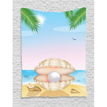 Pearls Tapestry, Pearl in Big Shell on Tropic Sandy Beach Sun Rays and Trees Exotic Creature Print, Wall Hanging for Bedroom Living Room Dorm Decor, Cream Blue, by Ambesonne