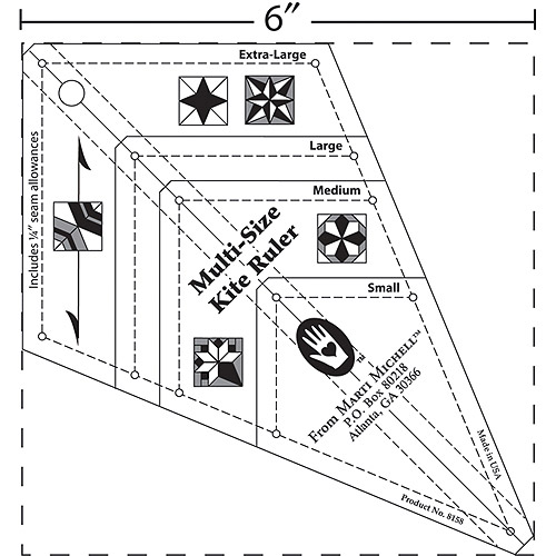 Marti Michell Perfect Patchwork Templates Multi-Size Kite Ruler