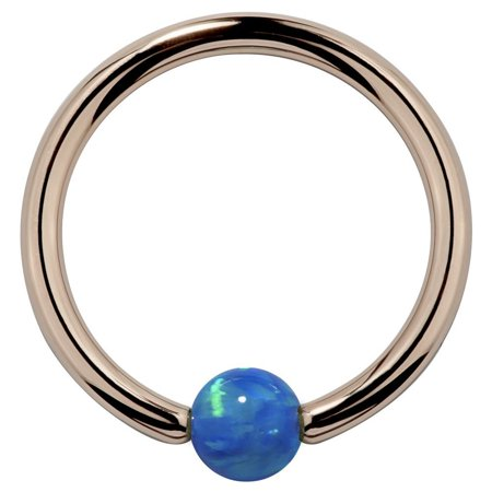 October Rose (White Opal - Solid 14kt Rose Gold Captive Bead Rings in 14G - 18G )
