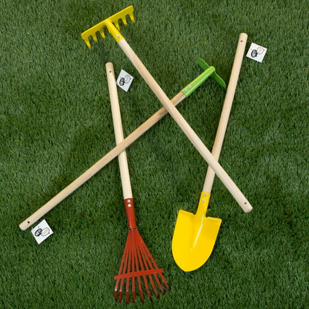 Kids Garden Tool Shovel - Kid's Garden Tool Set with Child Safe Shovel, Rake, Hoe and Leaf Rake – 4 Piece Gardening Kit With Long Wood Handles for Boys and Girls by Hey! Play!