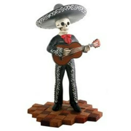 Tall Black Skeleton Mariachi Band Guitar Player Day of the Dead Figurine - Guitar Skeleton
