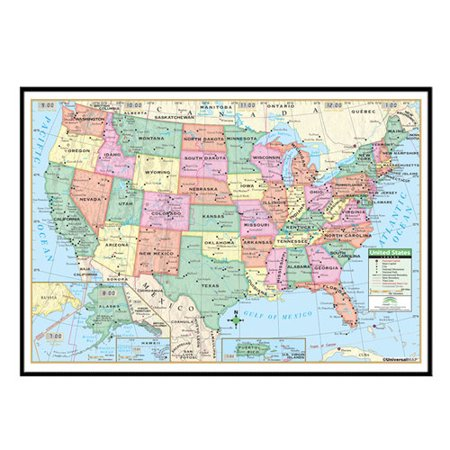 Universal Map United States Primary Mounted Framed Wall Map