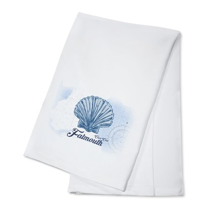 Falmouth, Cape Cod, Massachusetts - Scallop Shell - Blue - Coastal Icon - Lantern Press Artwork (100% Cotton Kitchen Towel) ()