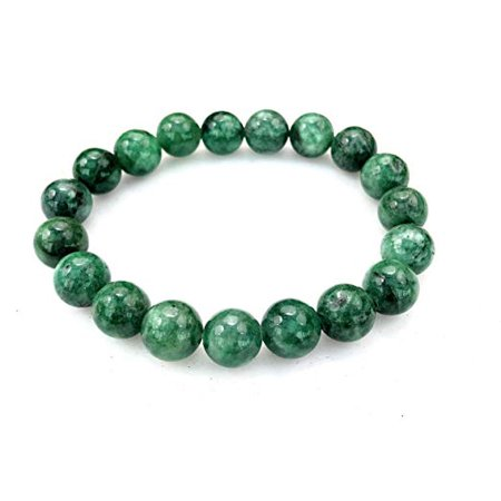 Fashion Jewelry Round Green Jade Gemstone Stretch Bracelet - 10mm - Women Men- (Go Green Bracelet)