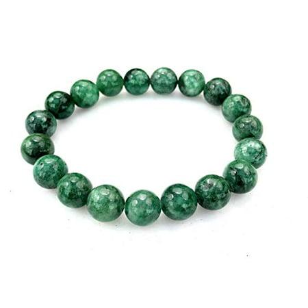 Vintage Button Bracelet Green (Fashion Jewelry Round Green Jade Gemstone Stretch Bracelet - 10mm - Women Men- 91144-10 )