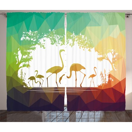 Wildlife Decor Curtains 2 Panels Set, Modern Flamingo Figures in Digital Art with Polygonal Featured Shadow Effects, Window Drapes for Living Room Bedroom, 108W X 84L Inches, Multi, by Ambesonne