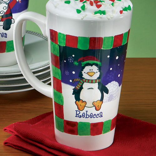 Personalized Christmas Latte Mug, Penguin