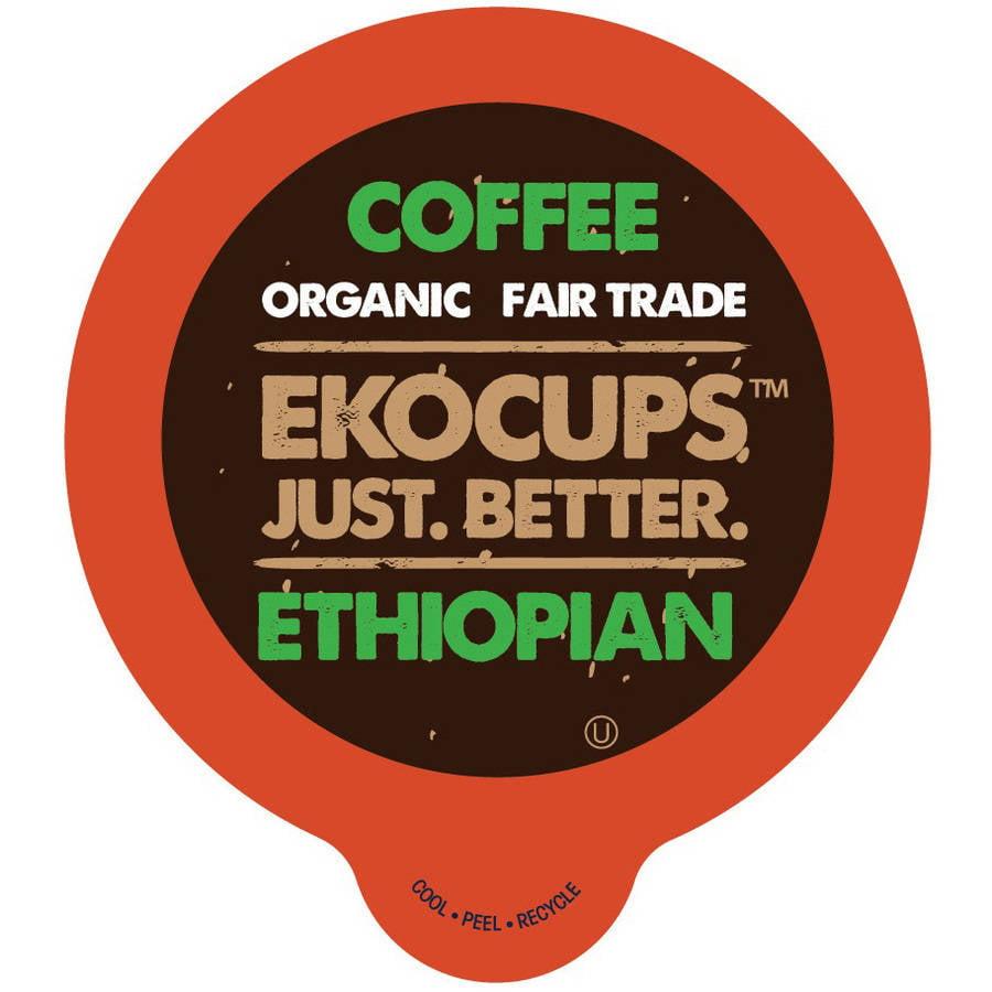 EkoCups, Artisan Organic Ethiopian Coffee in Recyclable Single Serve Cups, 40 Ct