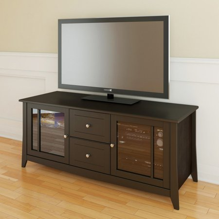 Elegance Extra-Wide Espresso TV Stand with Doors, for TVs up to