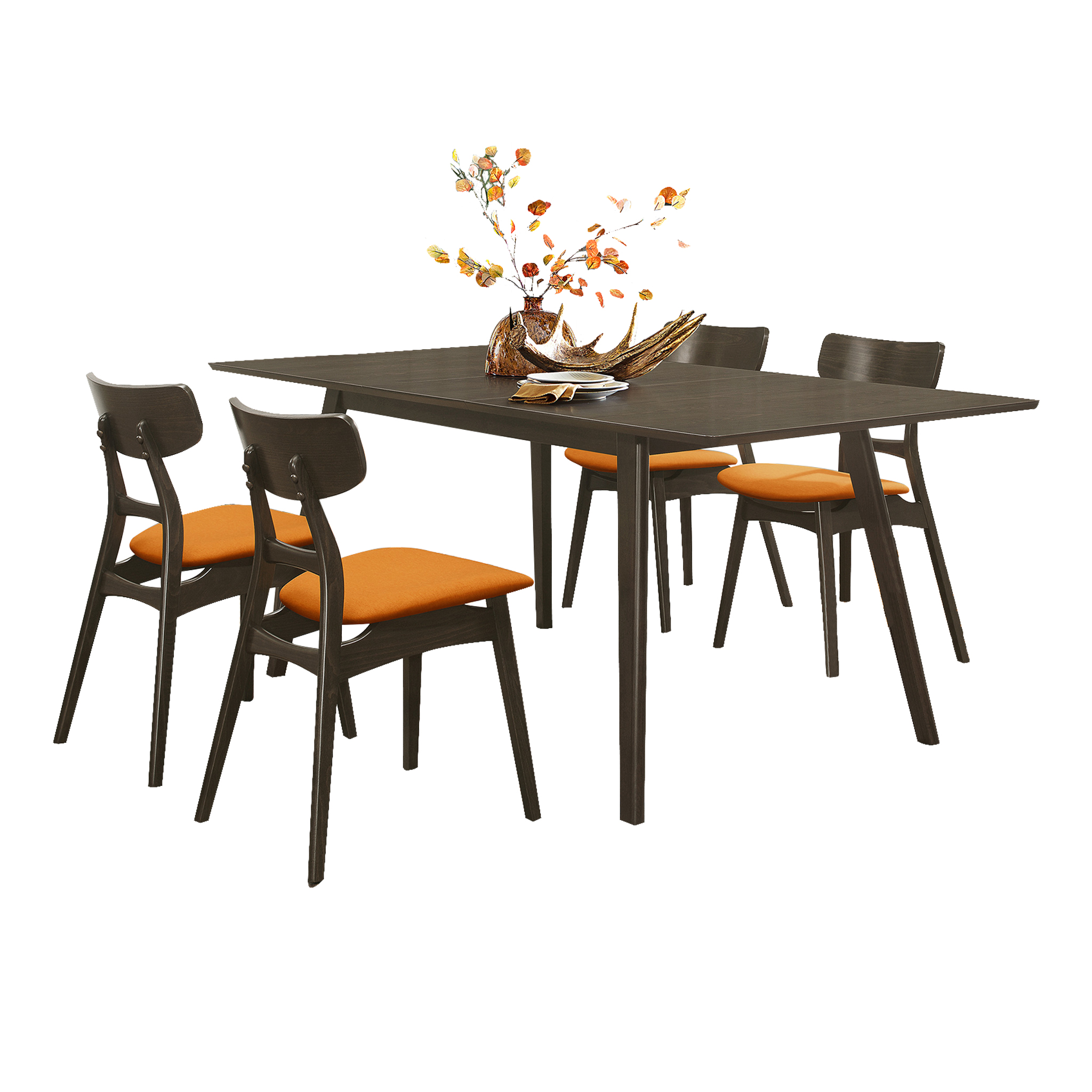 Tannar 5-Piece Dining set, Orange color (1 table + 4 Side chairs)