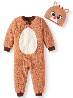 Matching Family Christmas Pajamas Unisex Toddler Boy or Girl Footless Rudolph Unionsuit with Beanie