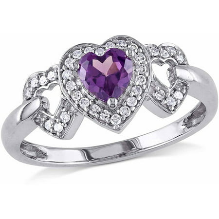 5/8 Carat T.G.W. Created Alexandrite and 1/8 Carat T.W. Diamond 10kt White Gold Heart Cluster Ring