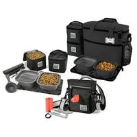 Bundle: ODG Day/Night Walking Bag (Black), ODG Week Away Bag TM (Med/Lg Dogs) (Black) and ODG Dine Away Set TM (Med/Lg Dogs) (Black)