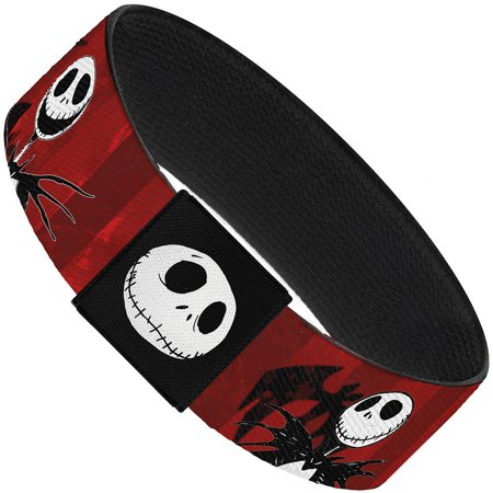 Nightmare Before Christmas Jack Poses Bats Red Stripe Elastic Bracelet   1.0