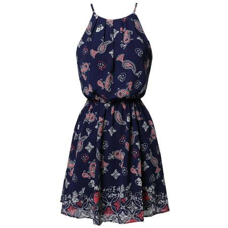 FashionOutfit Women's Paisley Strappy Elastic Waistband Lined Chiffon Mini Dress