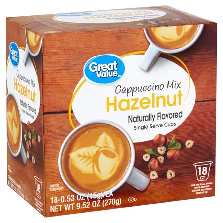 Great Value Hazelnut Cappuccino Mix, 18 - Style Cappuccino Cups