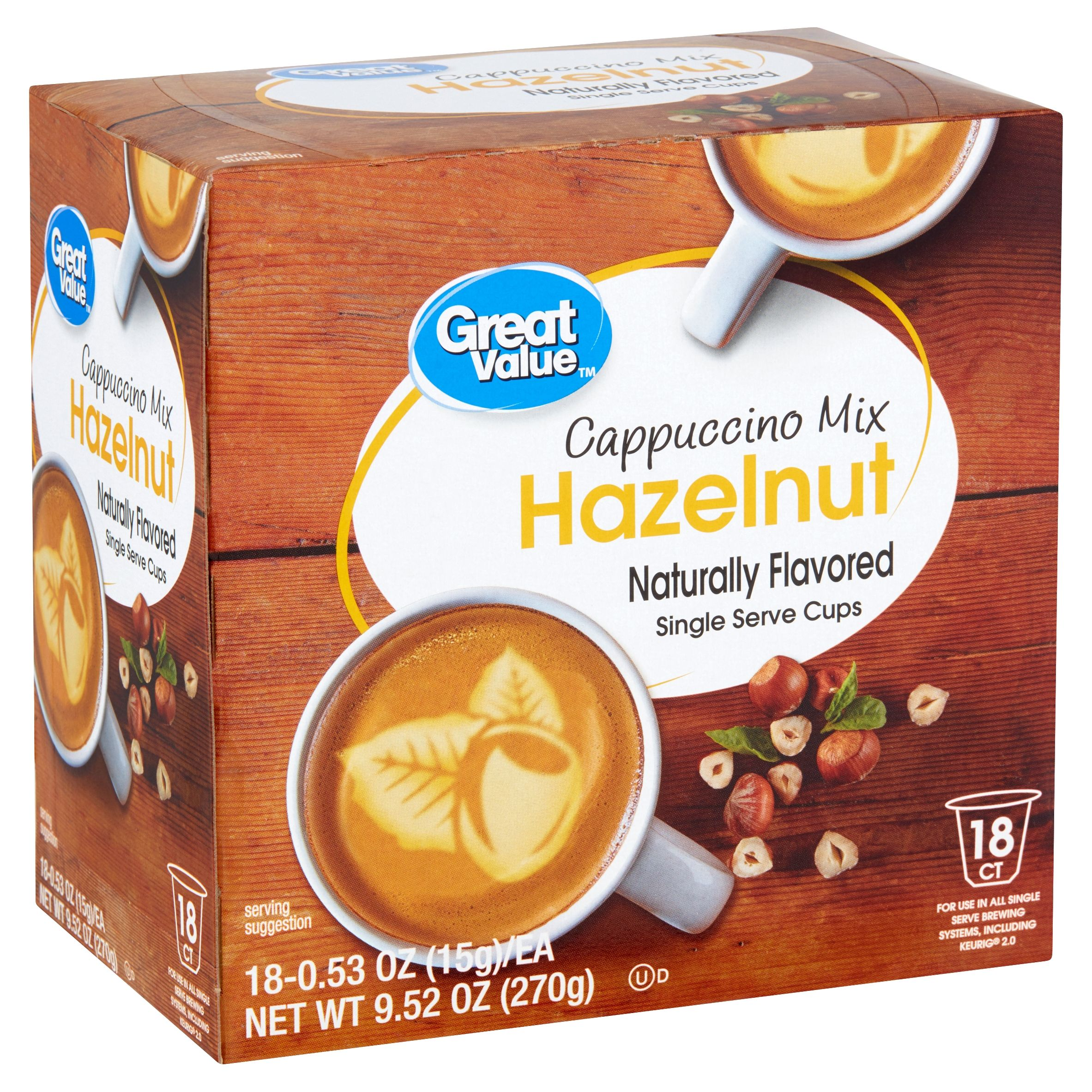 Great Value Hazelnut Cappuccino Mix, 18 Count