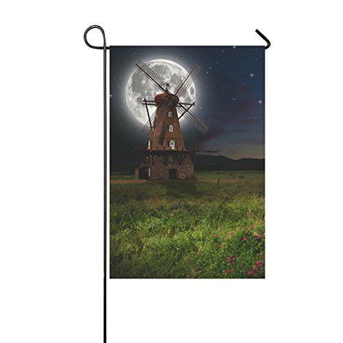 MYPOP Windmill in the Night Yard Garden Flag 28 x 40 Inches by MYPOP