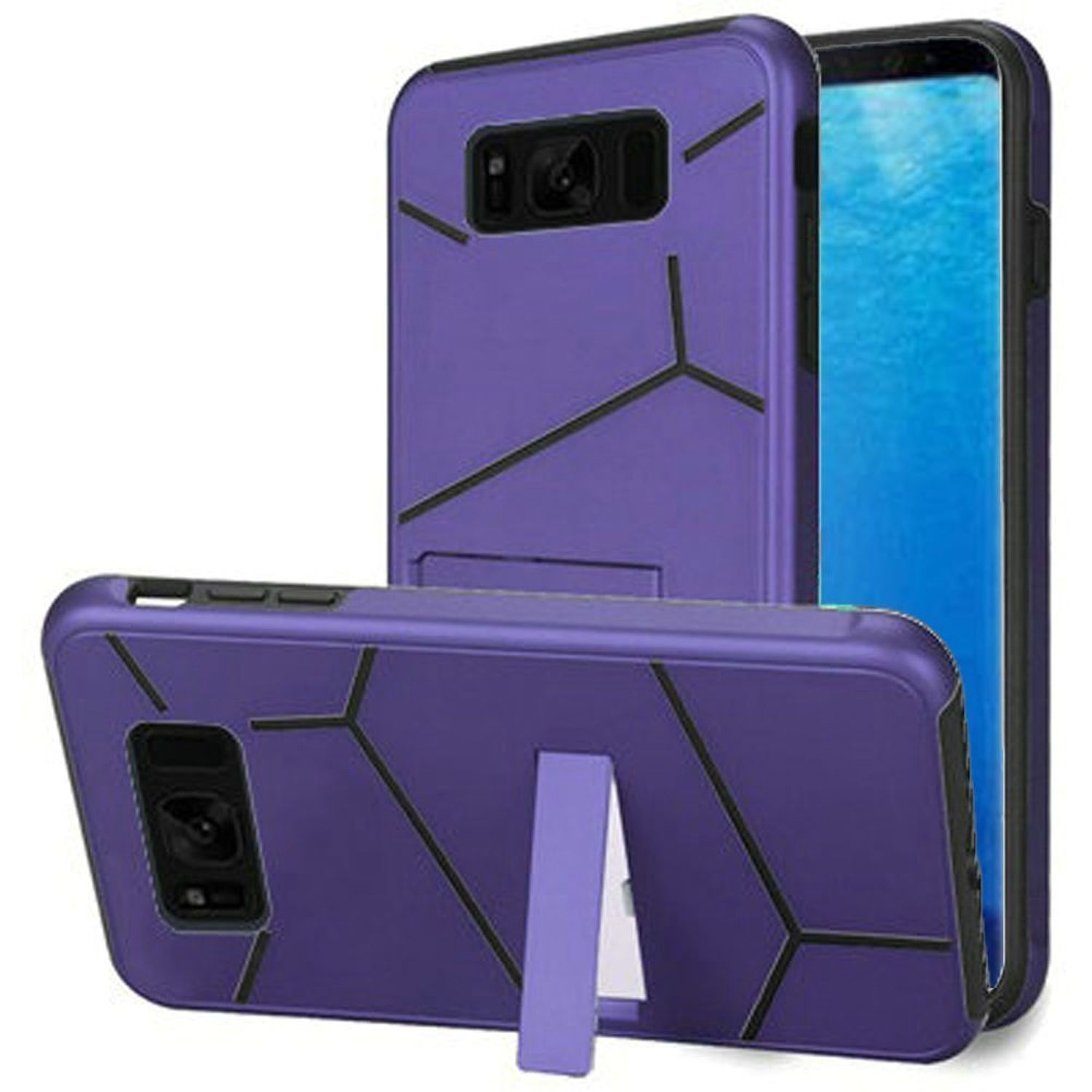 Samsung Galaxy S8 Case, by Insten Dual Layer [Shock Absorbing] Hybrid Stand Hard Plastic/Soft TPU Rubber Case Phone Cover For Samsung Galaxy S8, Purple/Black