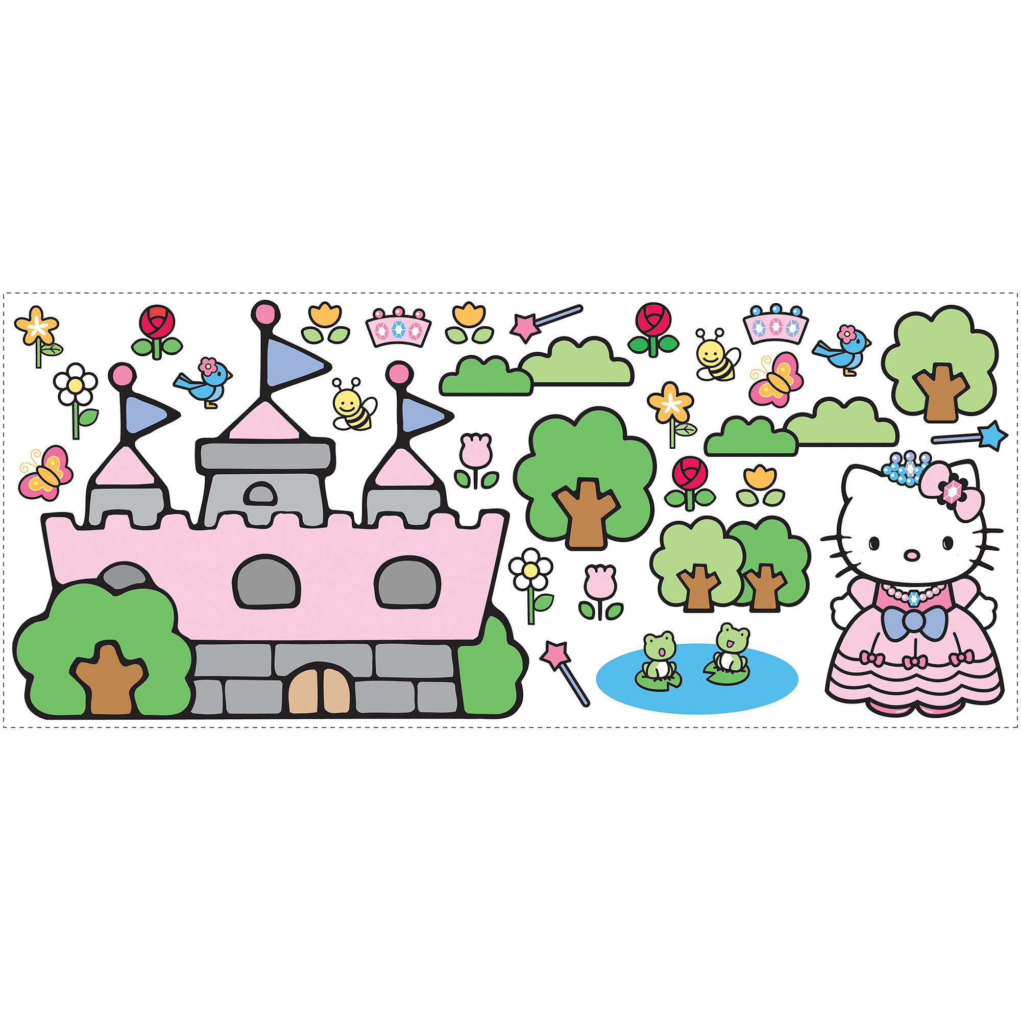 roommates hello kitty princess castle giant wall decal walmart com