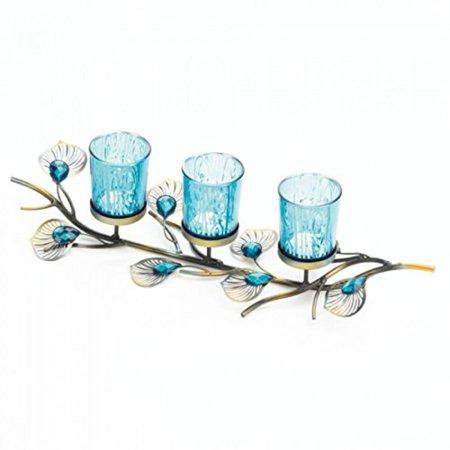 Peacock Inspired Candle Trio, 16 x 4.8 x 4 By Tom Co - Peacock Candles