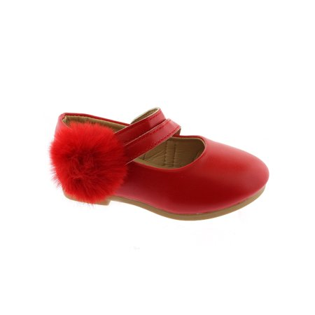 Kate Girls Red Double Strap Pom-Pom Mary Jane - Double Strap Mary Jane